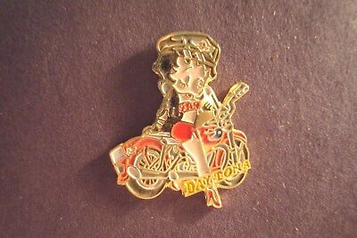 Vintage  BETTY BOOP ON MOTORCYCLE AT DAYTONA  Hat Pin Lapel  Pin