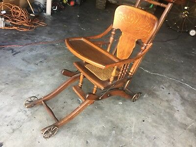 Antique Oak Heart Press Back Adjustable Baby High Chair Caned Seat Vintage Yout