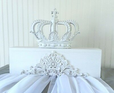 New Shabby White Canopy Bed Crown Baby Nursery Set Party Wedding Chic