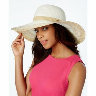 602442d9 Calvin Klein Floppy Straw Sun Hat Ombre Stripe Sequin Ivory Womens One Size  New