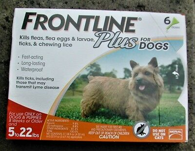 Frontline Plus for Dogs 5 - 22 lbs (6 pack) 100% Genuine U.S EPA Approve !!!