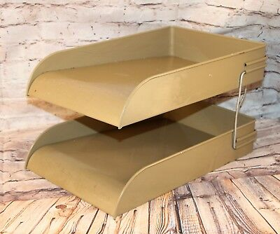 Vintage Mid Century Globe Wernicke Industrial Desk Tray In Out 2 Tier Gray Metal