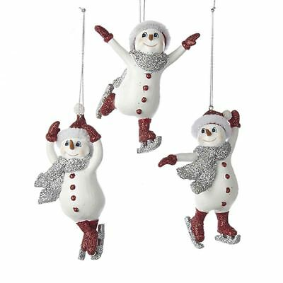 Kurt Adler Ice Skating Snowman Vintage Style Retro Christmas Ornaments White Red