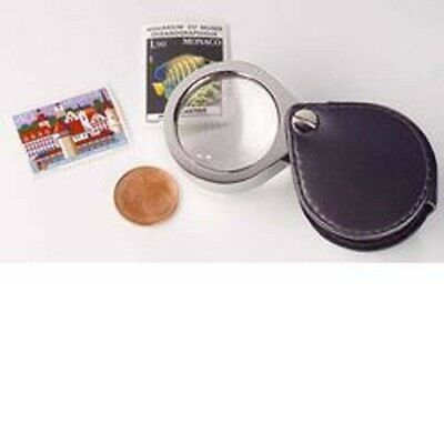 Foldaway pocket Magnifier, 5x magnification, leather