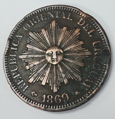 1869 Uruguay Republic 4 centesimos large coin circulated collection low mintage