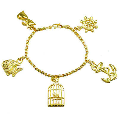 Gold Plated Bracelet Hanging Nice Fish Cat Bird Anc  6.5 Inches 24K Yellow Gold