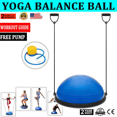 """23"""" Yoga Ball Balance Trainer Yoga Fitness Strength Exercise Workout w/Pump Blue"""