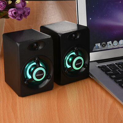 USB Wired Speaker LED HiFi Stereo Subwoofer Music Computer Speaker for PC Laptop
