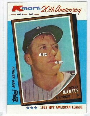 1982 Topps Kmart 20th Anniversary Mickey Mantle Baseball Card New York Yankees