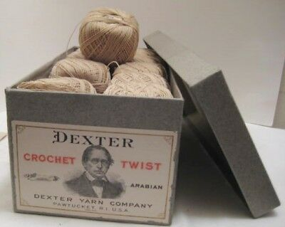 Old 1910 Sewing Crochet Dexter Yarn Co Pawtucket R.I. 20 balls in Box NICE! TMP