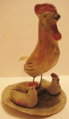 Old German Composition Candy Container Lid w/attached Chicken / Rooster & Chicks
