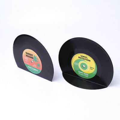 Creative Vinyl Record Shape Book Shelves Bookends Organizer Holders Stand
