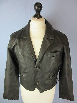 VINTAGE RETRO THICK BLACK REAL LEATHER TIE LACE CROP JACKET MEDIUM cj201