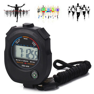 Waterproof Digital LCD Stopwatch Chronograph Timer Counter Sports Stop Wa Gift