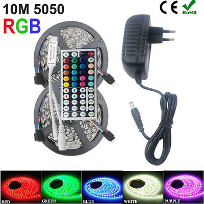 RGB LED Strip Light 5050 2835 10M 5M Light Flexible Controller DC12V Adapter set