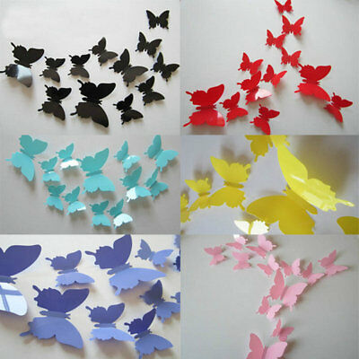 DIY 3D Beautiful Butterflies Wall Art Stickers Baby Girl Room Decor Decals 12Pcs