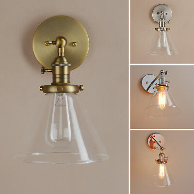 Pathson Funnel Clear Glass Vintage Industrial Wall Lamp Sconce Loft Wall Light
