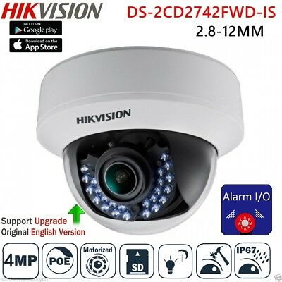HIKVISION 4MP DS-2CD2742FWD-IS POE IR Alarm/Audio 2.8-12mm Security CCTV Camera