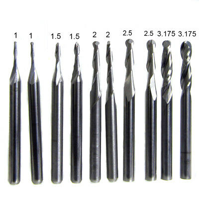 10pcs Carbide Ball Nose End Mill 2 Flutes CNC Router Bit 1/1.5/2.0/2.5/3.175mm