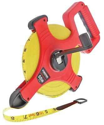 50m LONG Fibreglass Tape Measure Imperial & Metric Easy Reel with Handle 165ft