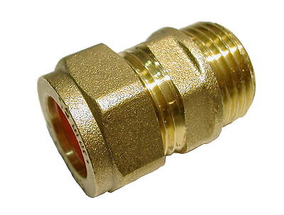 15mm Compression x 1/2 Inch BSP Male Iron Adaptor Coupler  Brass Fitting