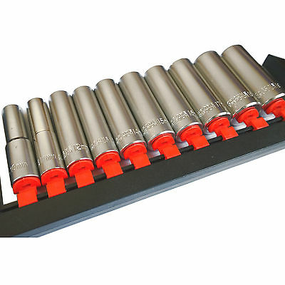 "10PC Deep Socket Set Long Reach Sockets Rail 1/4"", 3/8"", 1/2"" Drive - HILKA"