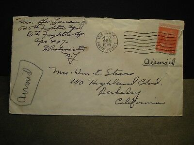 APO 407 MUNICH, GERMANY 1948 Army Air Force Cover 525th FIGHTER Sqdn, 86th Gp