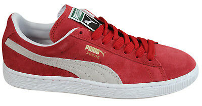 Puma Suede Classics+ Mens Trainers Lace Up Low Shoes Red Leather 352634 05 D80