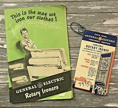 Vintage GE General Electric Rotary Ironer Advertising Booklet and Tag