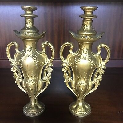 Stunning Pair of Antique French Gilt Metal Ormulu Ornate Candlesticks or Holders