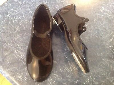 Little girls black patent leather theatricals tap dance shoes size 11
