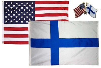 """Wholesale Combo Set Finland Country 3x5 3'x5' Flag and 8/""""x60/"""" Scarf"""