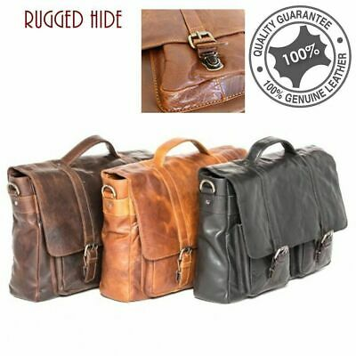 Men's Genuine Rugged Hide Leather Large Messenger satchel Shoulder Folio Bag
