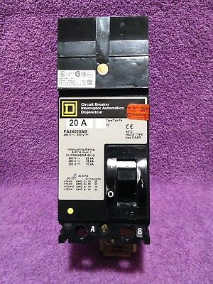 Square D FA24020AB 20 Amp 2 pole 480 AC -250 DC V I-Line Equipment New In Box