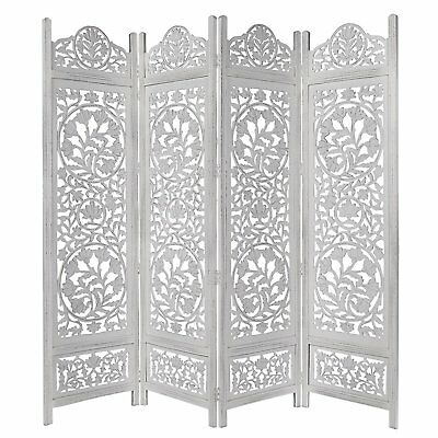 White 4 Panel Wood Room Divider Privacy Carved Screen Parion 72x80in Home New