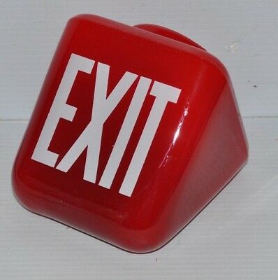 RUBY RED Glass Triangle EXIT SIGN / GLOBE vintage