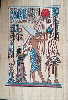 Hand made Papyrus of Egyptian Kings Pharaohs Art Painting.23 inch × 15 inch