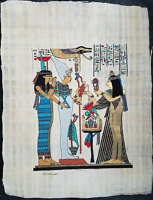 Hand made Papyrus of Egyptian Kings Pharaohs Art Painting.18 inch × 13 inch