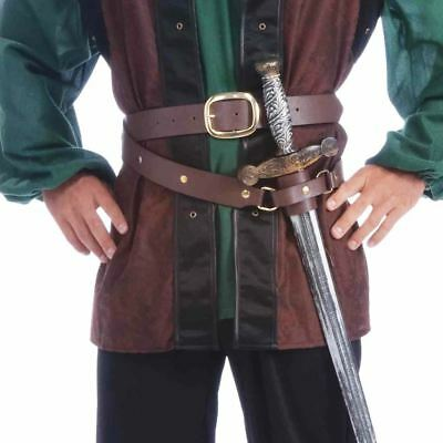 Medieval Double Wrap Belt with Scabbard Brown