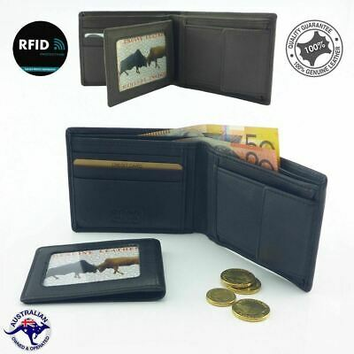 RFID New Genuine Cowhide Soft Leather Men's Wallet Black 7 Cards Slots Coin Or