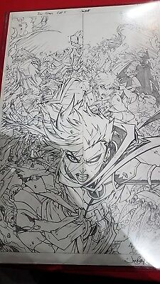 jonboy meyers original art!!! Teen titans rebirth cover issue #5 a must have!