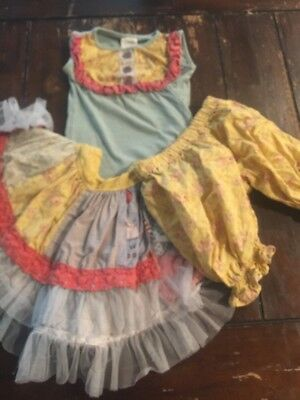 Beautiful Persnickety Girl 3 3t Seaside Top Bloomers Skirt Lot