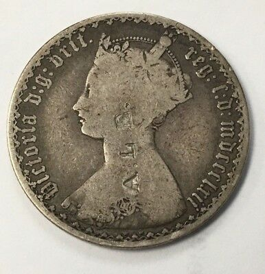 1862 Key Date  Great Britain Silver One Florin Coin Counter Stamped A.l.e.