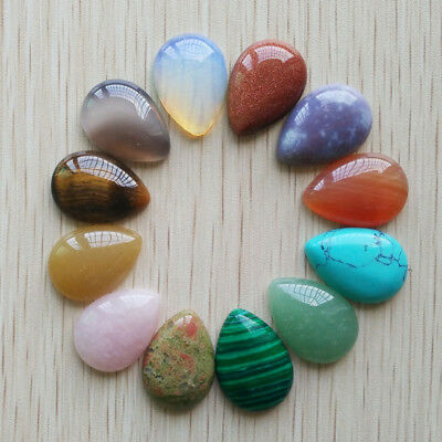 25x18mm Natural Gemstone Cabochons | Teardrop Shape | 12pcs | 18 Stone Choices