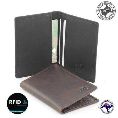 RFID Men's Genuine Rugged Hide Leather Slim Credit Card Holder 2 Cards Notes N