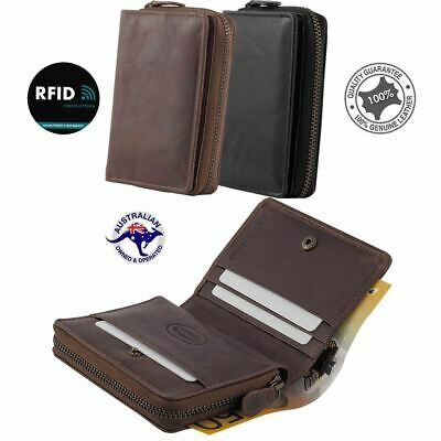Unisex Men's Women's RFID Genuine Leather Small Wallet Zipper Purse Rugged H