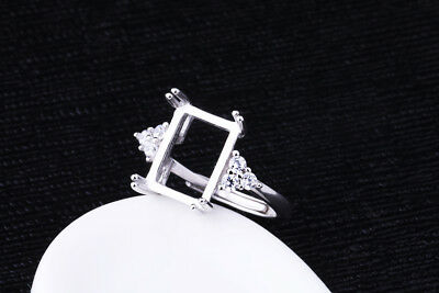 925 Sterling Silver Ring Blank | 8x11mm Setting | Platinum Plated