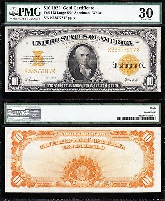 AWESOME Bold & Crisp VF+ 1922 $10 *GOLD CERTIFICATE*! PMG 30! FREE SHIP! 77817
