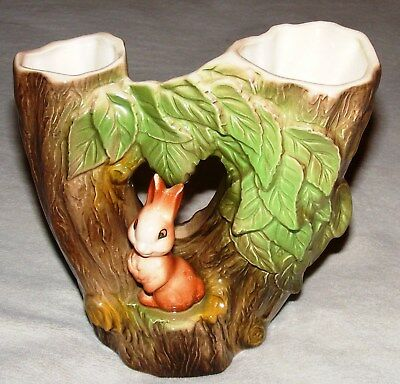 Withernsea Eastgate Fauna - Rabbit Double Vase - Retro Kitsch 1960's Pottery