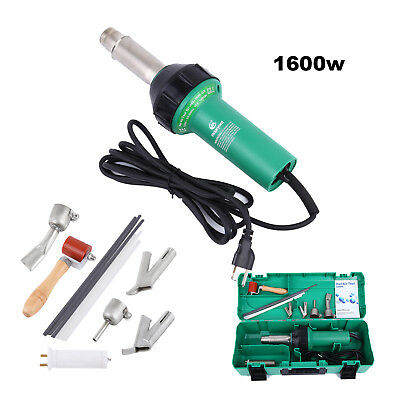 1600W Hot Air Torch Plastic Welder Heat Gun Pistol 4 Nozzle Rods w/ Protect Case
